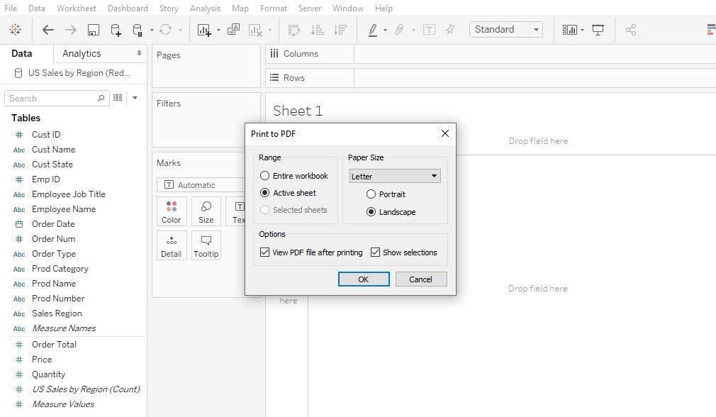 Tableau Workbook save as pdf Step 2